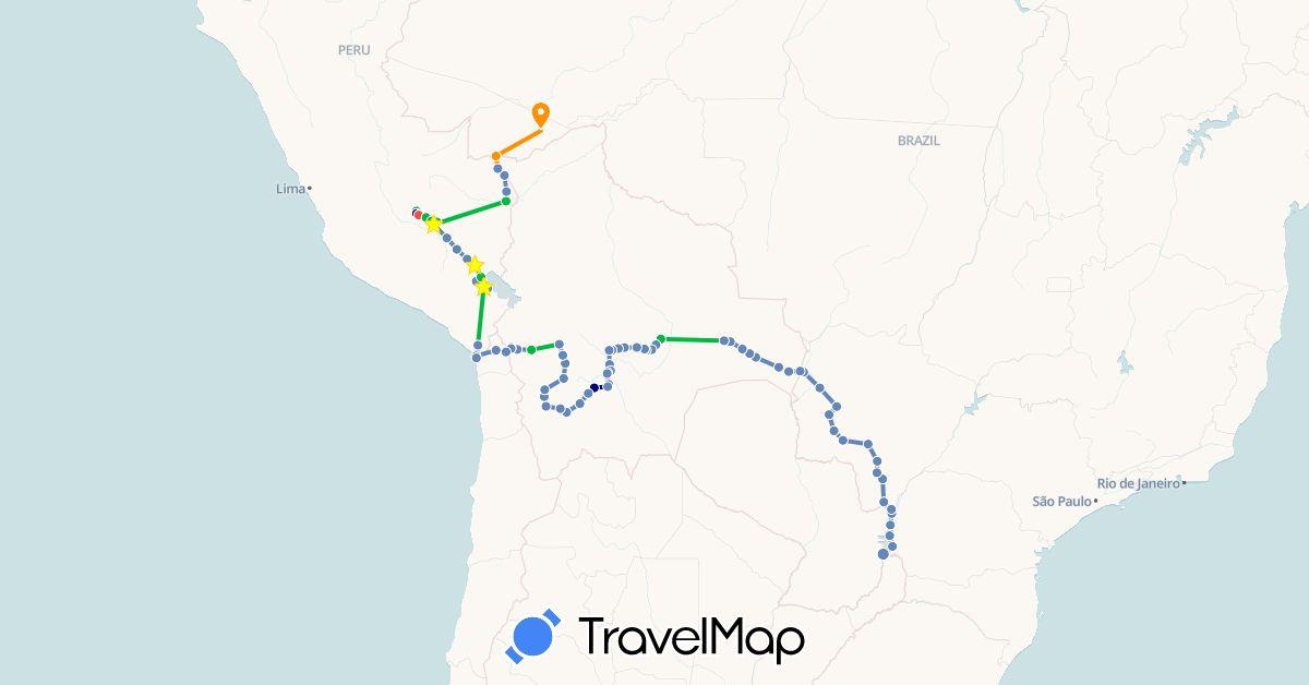 TravelMap itinerary: driving, bus, cycling, hiking, hitchhiking in Bolivia, Brazil, Chile, Peru (South America)